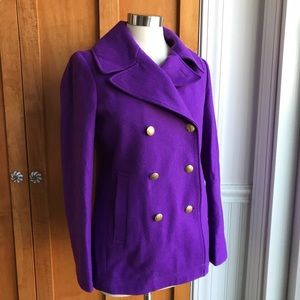 J. Crew Purple Wool Blend Double Breasted Pea Coat